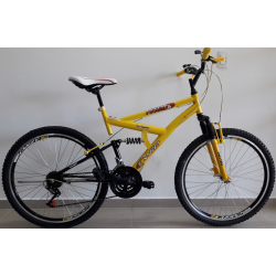 Bicicleta aro 26 full 21marchas amarela com preto