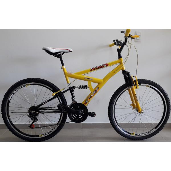 Bicicleta aro 26 full 21v amarela/preto wrp mania