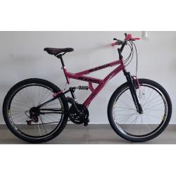 Bicicleta aro 26 full 21marchas pink/preto
