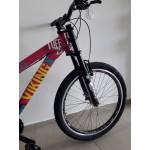 bicicleta aro 26 tuff25 t15.5 21v freio v-brake rosa/azul vikingx mania
