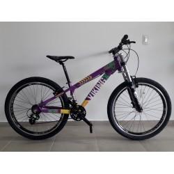 Bicicleta aro 26 al tuff25 t15.5 21v f-v-brake violeta/amarelo vikingx