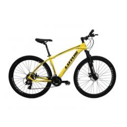 Bicicleta aro 29 T17.5 21.v Freio Disco amarela Lotus