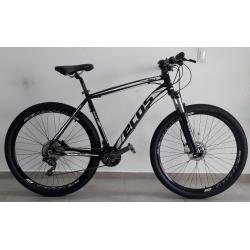 bicicleta aro 29 t21 27v Freio hidr cassete preta/branco ecos mania